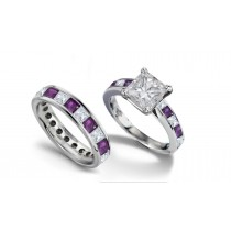 Princess Cut Diamond & Purple Sapphire Engagement Ring and Matching Band