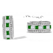 Stacked: 6 mm Wide Stacked Square Emerald & Diamond Eternity Ring