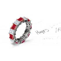 Dazzler: Square Ruby & Princess Cut Diamond Eternity Ring in Platinum