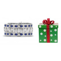 New Products - Custom Made Triple Sapphire & Diamond Eternity Ring