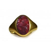 Men's Solitaire Rings:This is an Ancient Signet Ring with Crimson Dark Red Color & Vibrant Burma Ruby in Gold Signet Ring