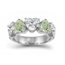 Designer Five StoneGreenDiamond Heart Ring