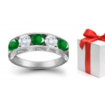 Enchanting Collection: Platinum & Diamond Emerald Five Stone Ring