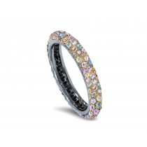 Delicate Women's Eternity Rings Featuring Multi-Colored Diamonds and Gemstones in Halo Precision Micro pave Settings