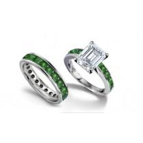 Emerald Cut Diamond & Square Emerald Ring & Matching Wedding Band
