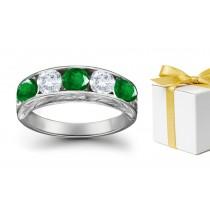 Precious tSones Gallery: 14k Gold & Diamond Emerald Five Stone Ring