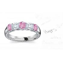 Designer Diamond Pink Sapphire Eternity Bands