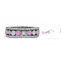 Dramatic: Stacked Pink Sapphire & Diamond Eternity Bubble Band