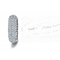 Micropavee Diamonds 5 Stone Row Wedding Ring in Platinum & Gold