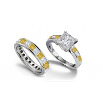 Princess Cut Diamond & Yellow Sapphire Engagement Ring & Band in Size 3 to 8