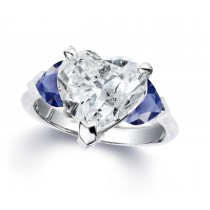 Custom Manufactured Three Stone Heart-Shaped Blue Sapphires & Diamond Ring