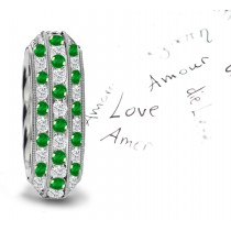 Triple Emerald Diamond Milgrain Eternity Ring