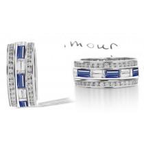 Stacked Baguette Sapphire & Diamond Eternity Anniversary Ring