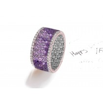 Made to Order French paveSet Brilliant Cut Round Diamonds & PurpleSapphiresEternity Rings & Bands