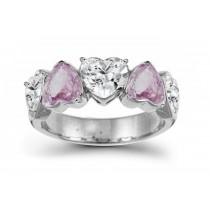 Designer Five StonePinkDiamond Heart Ring