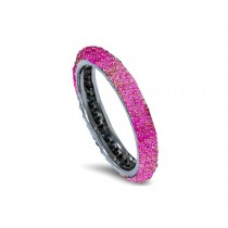 Delicate Women's Eternity Rings Featuring Vivid Pink Sapphires & Diamonds in Precision Micro pave Settings