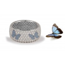Butterfly Collection: Women's Halo Micro pave Precision Set Blue Sapphire & Diamond Eternity Rings Available in Gold or Platinum for Wedding or Anniversary