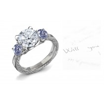Blue Colored Diamonds & White Diamonds Fancy Blue Diamond Engagement Rings