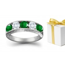 A Gem of Reconciliation: 14k Gold & Diamond Emerald Five Stone Ring