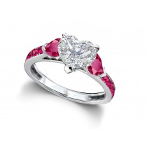 Heart Diamond & Ruby Three Stone Engagement Ring With Side Accents
