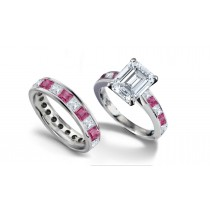 Emerald Cut Diamond & Square Pink Sapphire Ring & Matching Wedding Band
