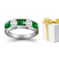 Shine More Brilliantly: Platinum & Diamond Emerald Five Stone Ring