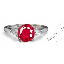 Heart To Heart:Pure Sparkling Pigeon Red Ruby Diamond Three Stone Ring