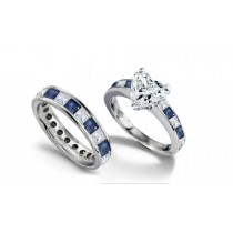 Heart Diamond & Princess Cut Sapphire & Diamond Engagement Ring & Wedding Band in 14k White Gold