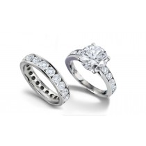 Designer Heart Diamond and Round Diamond Accents Engagement Ring & Matching Wedding Band in Platinum