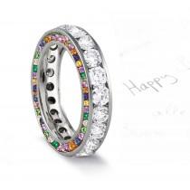 Micro pave Halo Brilliant Round Diamond & Rainbow of Gemstones Eternity Rings