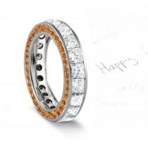Micro pave Halo Round & Princess Cut Diamond & Orange Sapphire Eternity Rings