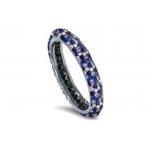 High Quality French pavee Multi-Colored Sapphire & Brilliant-Cut Round Diamond StackableEternity Rings