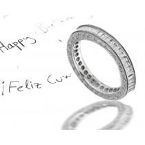 Stars in Stable Orbit: Hand Engraved Diamond Vintage Diamond EternityWedding Ring in 14k Gold