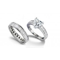 Designer Heart Diamond & BaguetteDiamond Accents Engagement Ring & Matching Wedding Band in Platinum