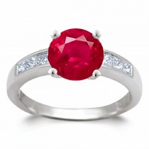 Ruby Ring:Ruby Squares and Princess Cut Center Diamond Ring in Platinum