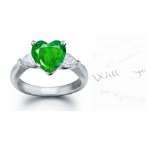 A Large Collection:Classic Diamond Pears & Emerald Heart 3 Stone Anniversary Ring Size 3 to 8