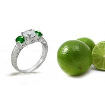 Antiquity:Three Stone Emerald & Diamond 3 Stone Gold Engagement Ring