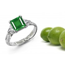 Stylistic Compositions: This Ring Features 3 Stone Trillion Diamond & Square Emerald in a Stylish Arranged Stucture