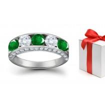 Precious GiftsCollection:Platinum & Diamond Emerald Five Stone Ring