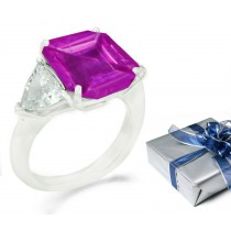 Square Pink Sapphire Three Stone Sapphire Engagement Ring with Trillion Diamonds in 14k White Gold