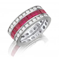 Made To Order Just For You Round & Emerald Cut Ruby & Diamond Prong Set Eternity Wedding Band Rings