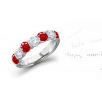 Ruby & Diamond 7-Stone Anniversary Ring