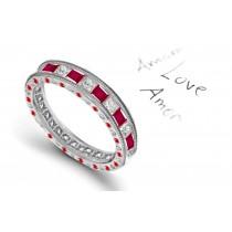 Satisfying Princess Cut Ruby Stones & White Diamond Eternity Ring