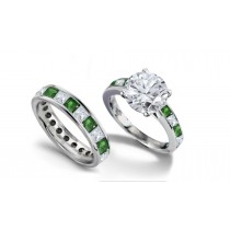 Round Diamond & Princess Cut Emerald & Diamond Engagement Ring & Wedding Wedding Band in 2 to 2.5 cts