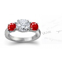 Latest Designs: Delightful Ceylon 3 Side Stone Clear & Fine Red Ruby & Diamond Anniversary Ring in 14k Gold Silver Ring Size 3 to 8 | Price $3350 - $69,750