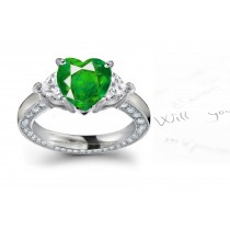 Three Stone Heart Emerald & Heart Diamond Halo Ring in Platinum & Gold
