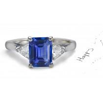 A Perfect Love Story: Emerald Cut Fine Rich Blue Sapphire Ring
