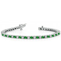 Platinum Round Emerald and Diamond Tennis Bracelet