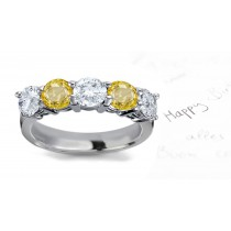 Magnificent: Yellow Sapphire Diamond Five Stone Wedding Anniversary Ring