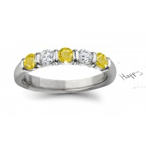 Truly Unique: Yellow Sapphire Diamond Five Stone Wedding Anniversary Ring